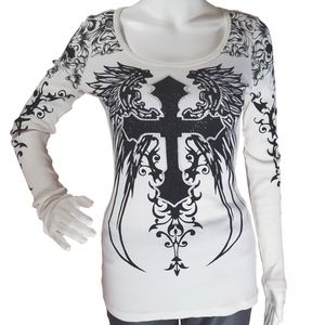 Vocal Crystals Cross Angel Wings Tattoo Shirt
